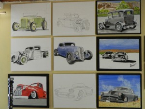 collection of original auto art