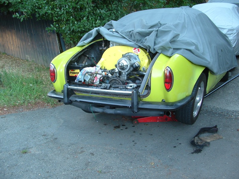 Karmann Ghia getting prepped before alternator install. Test fit it first!