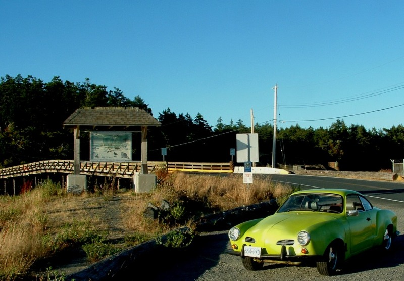 Staging at Esquimalt Lagoon. Here the Ghia stops so I can have a stretch.